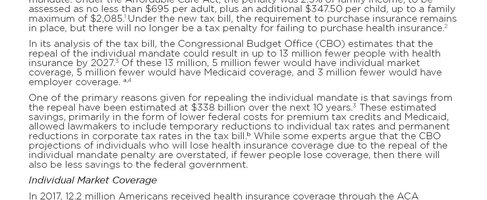Issue Brief: Impact of the Individual Mandate Penalty Repeal