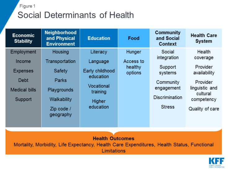 Artiga, S, Hinton, E. Beyond Health care: The Role of Social Determinants in Promoting Health and Health Equity. Henry J. Kaiser Family Foundation. May 10, 2018. https://www.kff.org/disparities-policy/issue-brief/beyond-health-care-the-role-of-social-determinants-in-promoting-health-and-health-equity/
