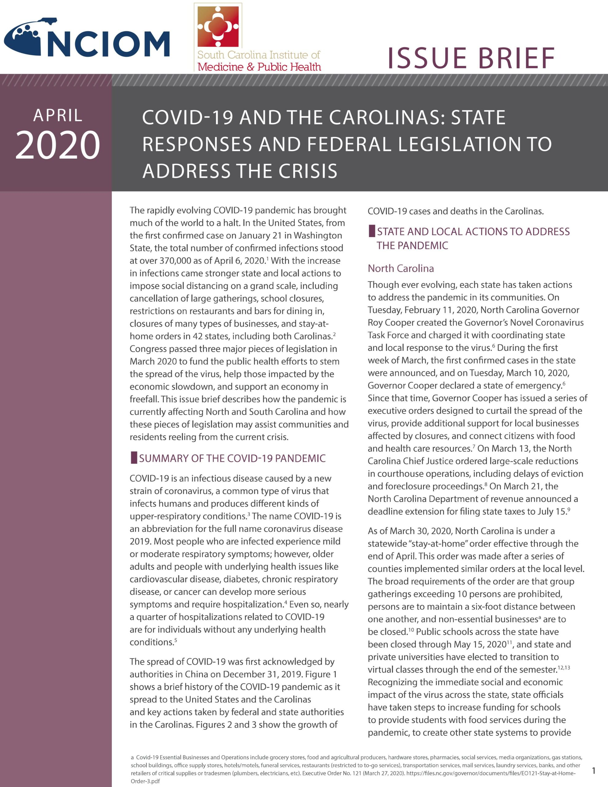 COVID-19 and the Carolinas: State Responses and Federal Legislation to Address the Crisis