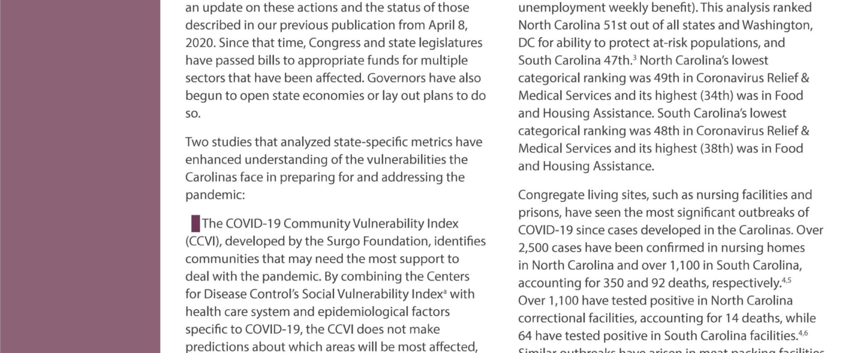 COVID-19 and the Carolinas Part II: State Responses and Federal Legislation to Address the Crisis