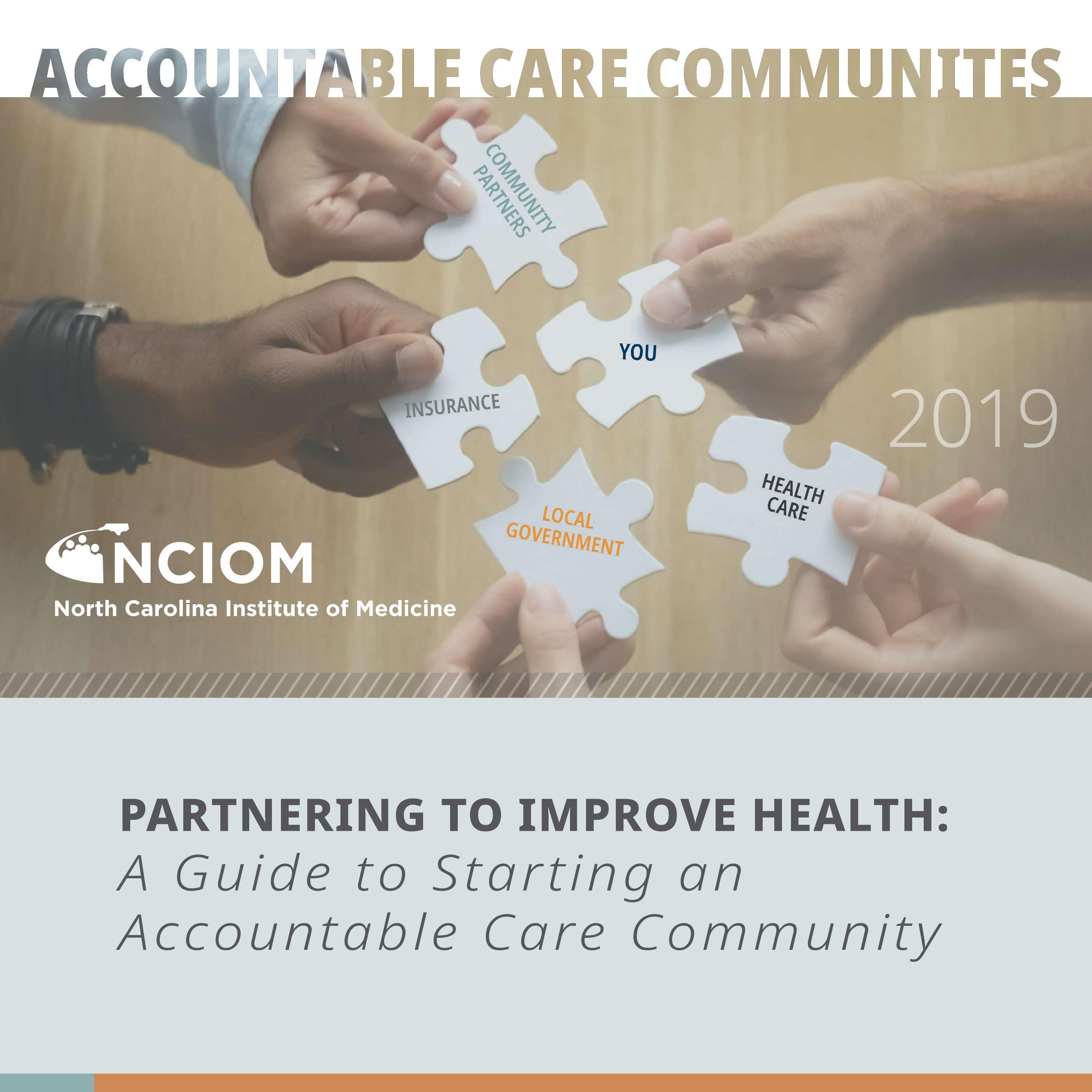cover of accountable care community guide - partnering to improve health. five hands, each holding a white puzzle piece coming together.