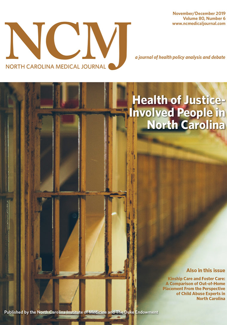 image of prison cell and hallway on cover of NCMJ