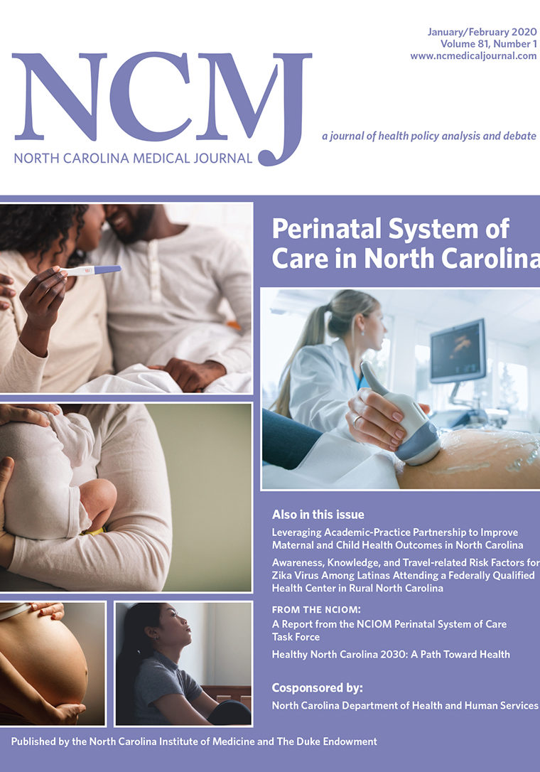cover of NCMJ with images of people with babies, pregnant bodies, a pregnancy test, an ultrasound in progress, and a person leaning against a wall