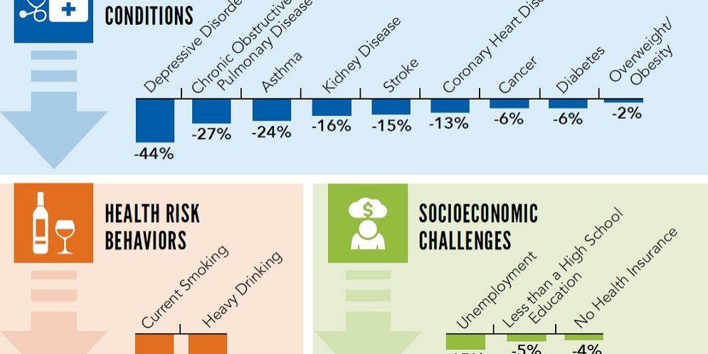 cdc graphic about health conditions, health risk behaviors, and socioeconomic challenges