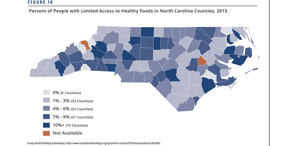image of NC showing food insecure areas